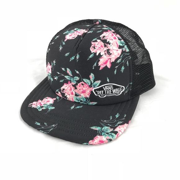 bf1405ba Vans Floral Black SnapBack Trucker Hat
